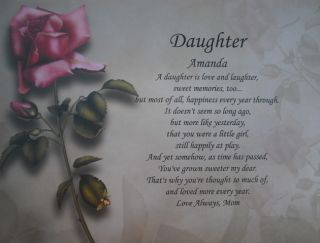 Daughter Personalized Poem Birthday Present or Christmas Gift Idea Red
