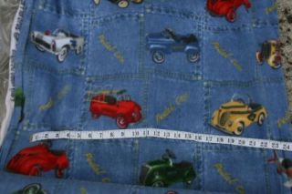 Yards Cars Trucks Denim Blue Polar Fleece Fabric Material