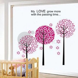 Large Removable 3 Pink Trees Wall Sticker Baby Girls Nursery Room Kids