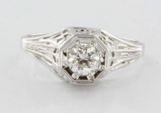 Antique Art Deco 18k White Gold Diamond Filigree Engagement Vintage
