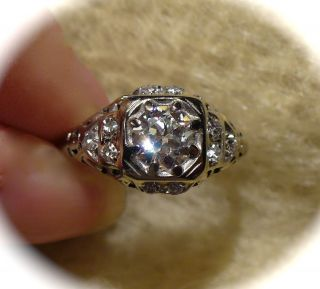 ANTIQUE 18 KT WHITE GOLD DIAMOND approx 90 ct RING ENGAGEMENT