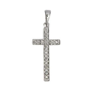 Natural 14k White Gold 11C Pave Diamond Cross Pendant Necklace