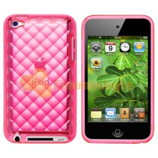 Pink Diamond Rubber Cover Case Skin Film for Apple iPod Touch 4 4th