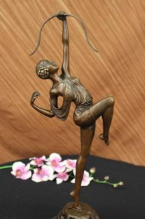 Signed Bronze Art Deco Statue Diane Sculpture Mythology Figure