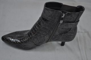 Anne Klein Dido Pewter Ankle Boot Zip Up Metallic Gator Print 10242 8