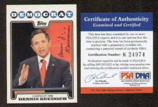 Dennis Kucinich Signed Autographed 2008 Topps Card PSA