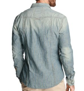 New Esprit Mens Slim Fit Denim Shirt Stripe Vintage Style Indigo Blue