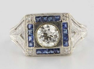 Antique Art Deco 14k White Gold Diamond Blue Sapphire Cocktail Ring