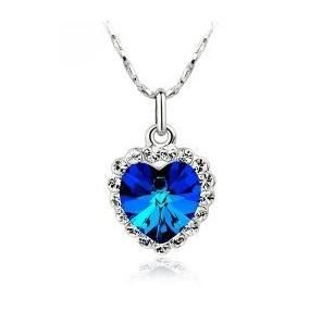 Love Heart of the Ocean Necklace Sapphire Blue Crystal Stone DARK BLUE