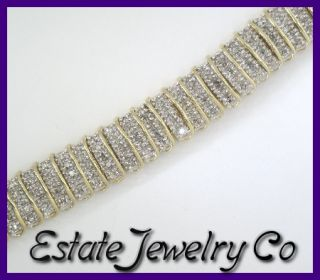 14k Yellow Gold Round Diamond Bar Link Tennis Bracelet 3.38ct