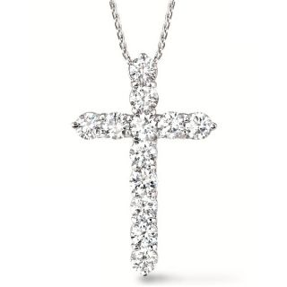 00ct Diamond Cross Pendant Necklace 14k White Gold