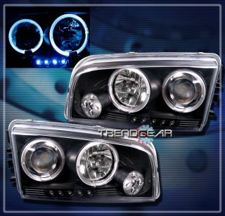 06 10 Dodge Charger Halo LED Projector Headlights Lamps Black 07 08 09