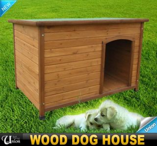 New Outdoor Large Wooden Pet Dog House Natural Safety Wood Slope Roof