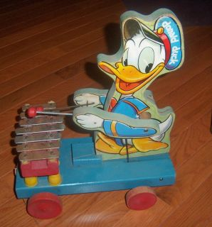 FISHER PRICE DISNEY 1946 DONALD DUCK XYLOPHONE WOODEN PULL TOY #177