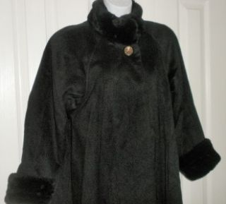Vintage Black Faux Fur Wool/nylon DONNYBROOK Long Swing Coat 2 6/8