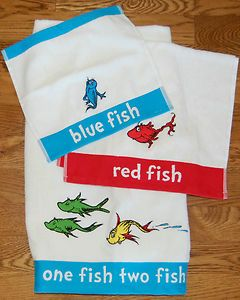 Pottery Barn Dr. Seuss one fish two fish bath, hand and wash towel set