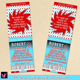50 Personalized Dr Seuss Inspired Birthday Party Ticket Invitations