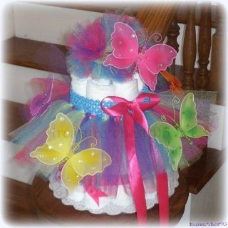 Butterfly Tutu Diaper Cake Baby Shower Centerpiece Spring Princess