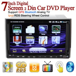Double Din Indash Car DVD Player GPS Navigation Ipod TV Bluetooth