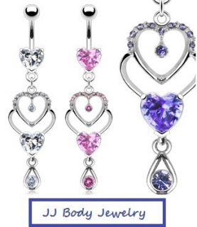 Double Heart Navel Belly Ring Teardrop Dangle