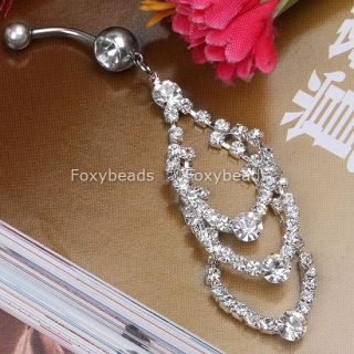 cz clear crystal dangle double gem belly navel ring
