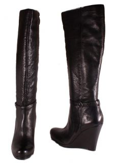DKNYC Patty Womens Black Knee High Tumbled Leather Boots B3103025