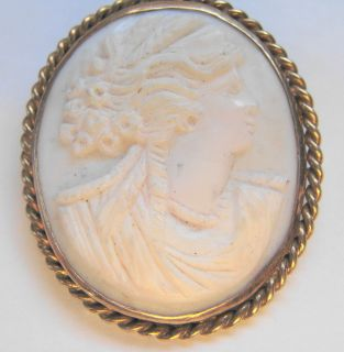 Victorian Shell Cut Cameo Brooch Pin Gold Filled