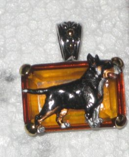 Bull terrier amber crystal pendant DOG jewelry Tri color body