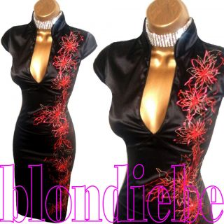 JANE NORMAN SEXY BLACK RED SATIN ORIENTAL COCKTAIL DRESS UK 14
