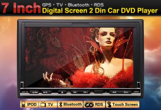 In Dash 7 2 DIN Car Stereo DVD Player GPS Dual Zone iPod Bluetooth