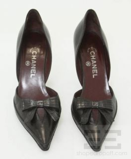 Chanel Black Leather DOrsay Point Toe Bow Heels Size 40