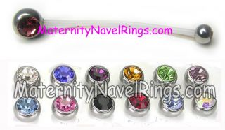 Double Gem CZ Maternity Navel Ring Pregnancy Belly 14ga
