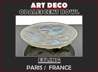 Art Deco Opalescent Glass Bowl from Edmond Laurent Etling