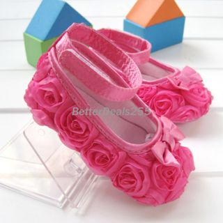 Fashion Toddler Baby Girls Princess Shoes Pink Rose Flower Hot