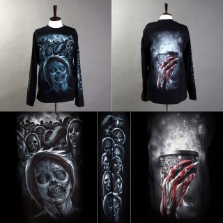 Rock Eagle Long Sleeve T Shirt Heavy Metal Biker Skull Zombie 008 M L