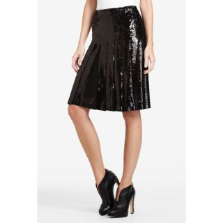 BCBG MAXAZRIA WOMENS EDNA SEQUINED PLEATED SKIRT