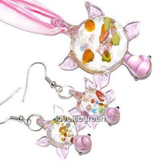 Pink Turtle Lampwork Murano Glass Necklace Earrings Set
