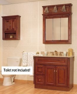 Newport Birch Bathroom 36 Vanity LH Drawers Medicine Cabinet Mirror