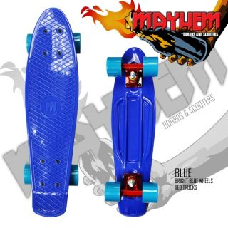 MAYHEM Complete Cruiser Skateboard Blue / Bright Blue Wheels