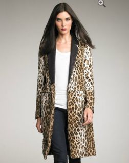 New $995 Elizabeth and James Foster Leather Lapel Leopard Print Faux