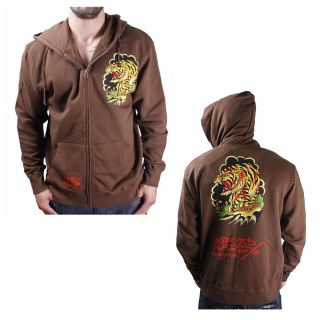 Ed Hardy Christian Audigier Mens Hoodie Sweatshirt Brown Tiger Size L