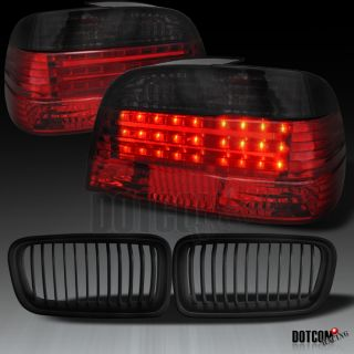 EURO SMOKE/RED LED TAIL LIGHTS + BLACK OEM STYLE FRONT HOOD GRILL