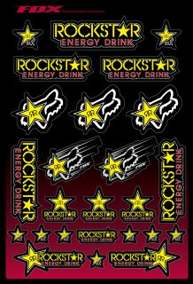 Fox Racing Rockstar Energy Drink Sticker Pack Sheet Kit Decals