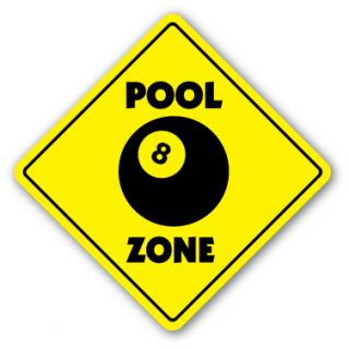 Pool Zone Sign Hall Table 8 Ball Billiards Cue Stick Hustler Play