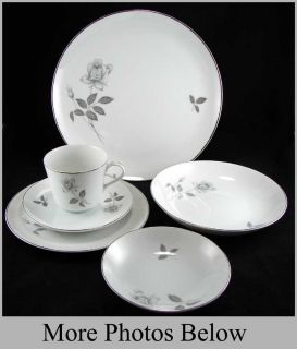 6 Piece Place Setting Queens Royal Gray Rose China