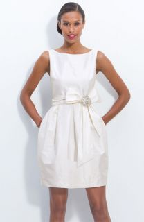 Eliza J Jeweled White Ivory Sleeveless Satin Tulip Dress Wedding