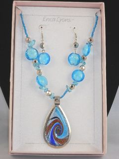 Erica Lyons Blue Artisan Glass Necklace Earrings Set