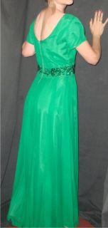 60S GREEN CHIFFON SEQUIN COCKTAIL PARTY DRESS GOWN MAD MEN EMMA DOMB M
