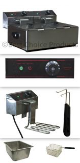 5000W 12 Liter Electric Countertop Deep Fryer Dual Tank 6 Commercial