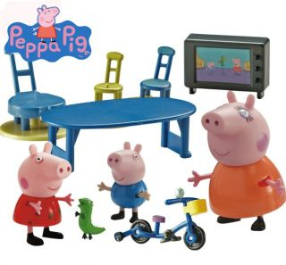 Set includes a mummy Pig, Peppa Pig, George and various accessories